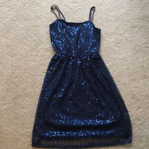 Sequined dress with straps